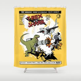 T-Rex VS Shark  Shower Curtain