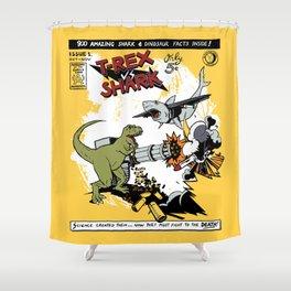 T-Rex VS Shark  Shower Curtain