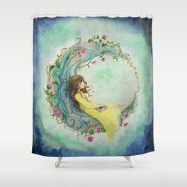 The Girl At The Moon Shower Curtain