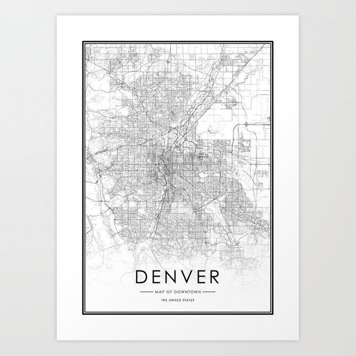 Denver City Map United States White and Black Art Print by ... on