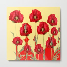 RED POPPIES ON CREAM ART NOUVEAU DESIGN Metal Print