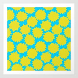 Pop Art Starburst // Yellow & Turquoise Art Print