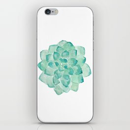Watercolor Succulent print in seafoam green iPhone Skin