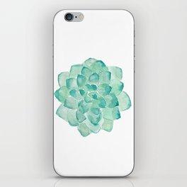 Watercolor Succulent print in seafoam green iPhone Skin