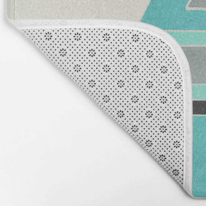 Rustic Tribal Pattern in Teal, Charcoal and Cream Bath Mat