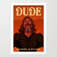 the dude Art Prints featuring Dude by Leif Jones