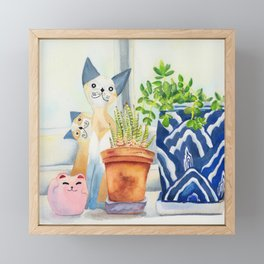Windowsill still-life watercolour (cats and plants) Framed Mini Art Print