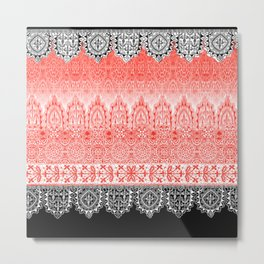 crochet lace in red Metal Print