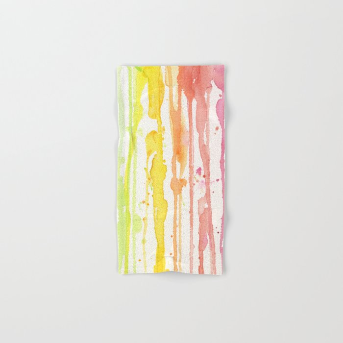 Rainbow Watercolor Texture Pattern Abstract Hand & Bath Towel