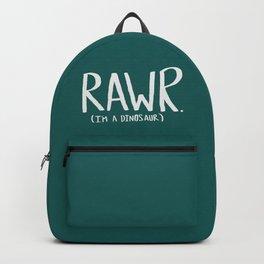 Rawr. I'm a Dinosaur. Turquoise. Backpack