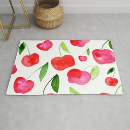 Watercolor cherries - red and green Rug