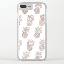 Rose gold pineapples Clear iPhone Case