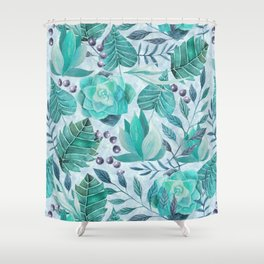 Green greenery watercolor tropical leaf pattern Shower Curtain