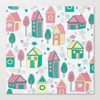home sweet home Canvas Prints featuring Home by One April