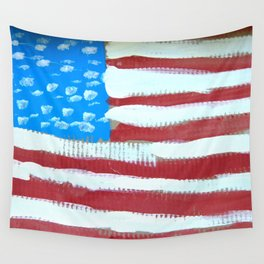 oh, America - naive acrylic painting in red, white and blue by Wall Tapestry