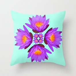 Purple Lily Flower - On Aqua Blue Throw Pillow