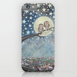 northern saw whet owls under the stars iPhone Case