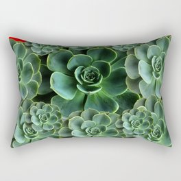 CHINESE  RED ART JADE GREEN SUCCULENTS Rectangular Pillow