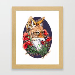 A Jackal and Poppies Framed Art Print