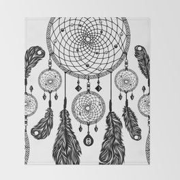 Dreamcatcher (Black & White) Throw Blanket