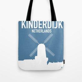 Kinderdijk , Netherlands windmill vacation poster. Tote Bag