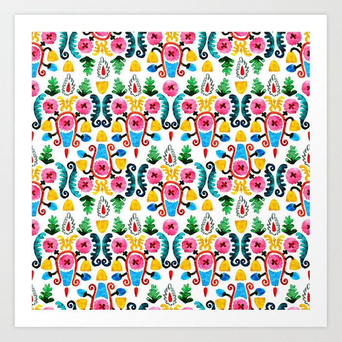 Colorful oriental watercolor floral pattern. Art Print