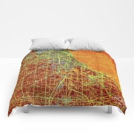 10-Chicago Illinois 1947, old map, orange and red Comforters