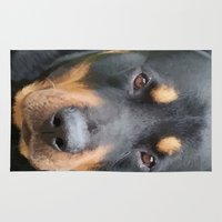 rottweiler Area & Throw Rugs featuring Beautiful Female Rottweiler Portrait Vector by taiche