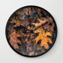Leaves in a Rock Pool Wall Clock