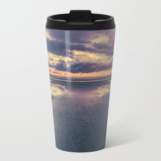 Stormy Beach Sunset Metal Travel Mug