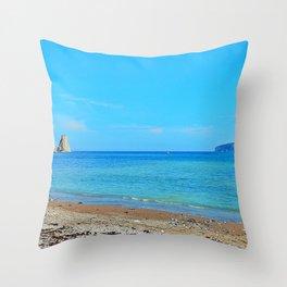 Perce Beach panoramic Throw Pillow