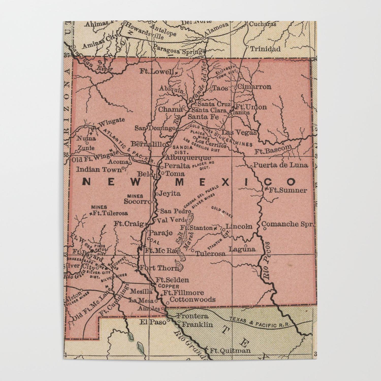 Vintage Map Of New Mexico 1880 Poster By Bravuramedia Society6