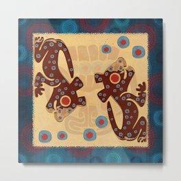 Mayan Baby Jaguar Folk Art Textile Metal Print