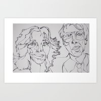 carl sagan Art Prints featuring Carl Sagan and Ann Druyan by PigeonHouse