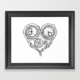 Chemistry of love: dopamine and serotonin formula (black and white version) Framed Art Print