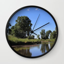 Tree Lined Laramie River Wall Clock