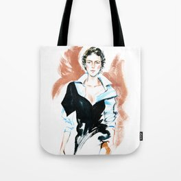 fashion #6. girl in a white shirt and black dress Tote Bag