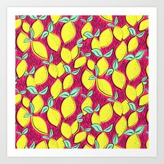 Lemon and pink Art Print