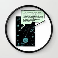 philosophy Wall Clocks featuring The philosophy and the love by Omer Mentes