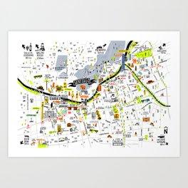 Mapa de Santiago Art Print