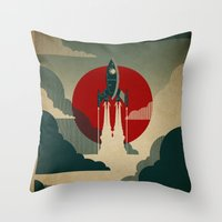 spaceship Throw Pillows featuring The Voyage by Danny Haas