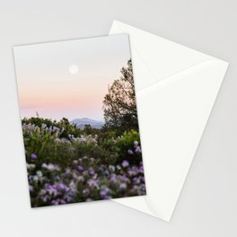 Mountain Sunset Full Moon Purple Flowers Landscape Photography Stationery Cards
