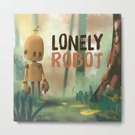 Lonely Robot Metal Print