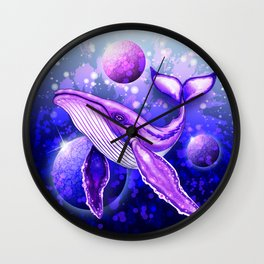 Cyber Whale on Ultra Violet Deep Space Ocean Wall Clock