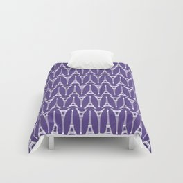 White Eiffel Towers on Ultra Violet Purple Comforters