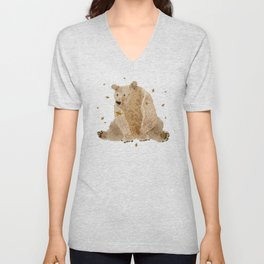 bear grizzly  Unisex V-Neck
