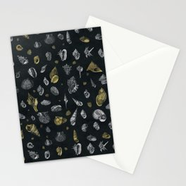 Sea shells pattern gold and silver Stationery Cards