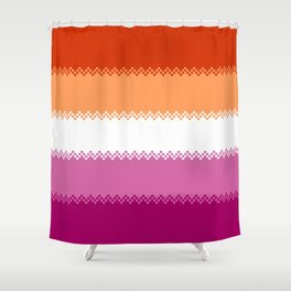 pixel pride- lesbian pride flag Shower Curtain