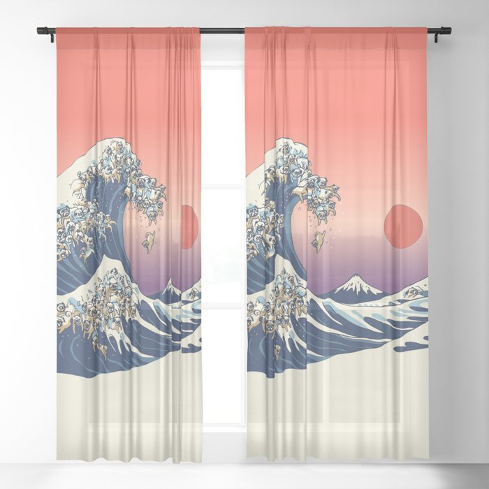 The Great Wave of Pug Sheer Curtain