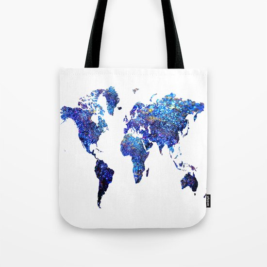 World Map blue purple Tote Bag